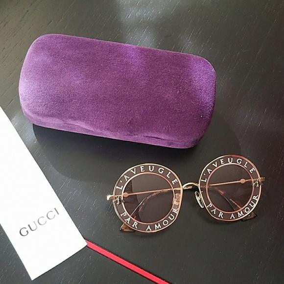 2b4ee02d1d9 Gucci Accessories - Gucci GG0113S Round Sunglasses L Aveugle Par Amour